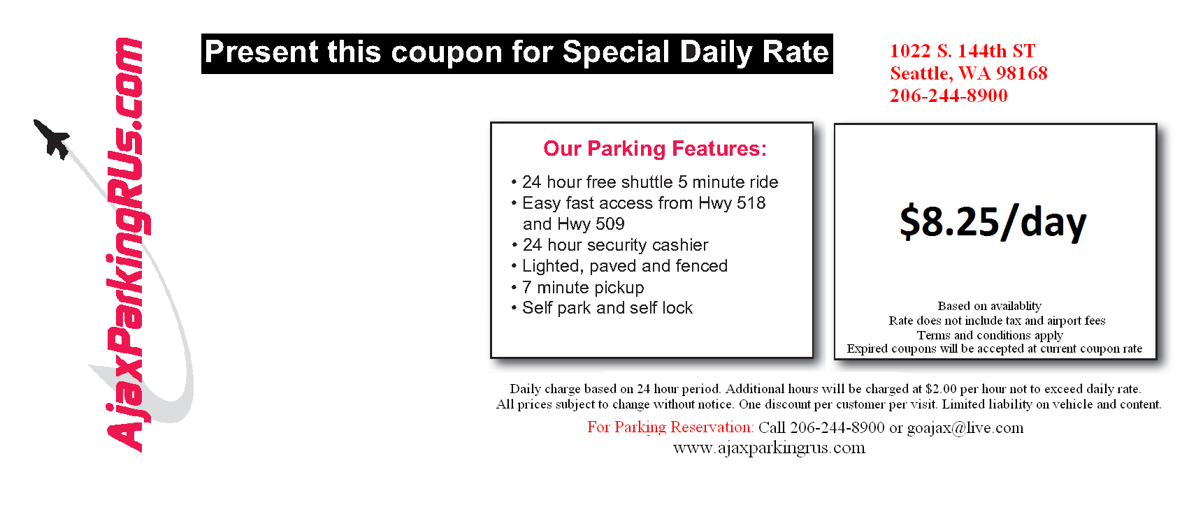 Parking deals in SeaTac, WA: 50 to 90% off deals in SeaTac. Three, Five, or Seven Days of Airport Parking at Skyway Parking (Up to 1% Off) (SEA). Three or Seven Days of Parking at Seattle-Tacoma International Airport in MasterPark Lot C (Up to 38% Off).